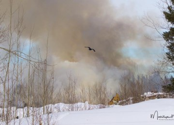 Smoke rises from a landfill fire in Hay River on March 10, 2019