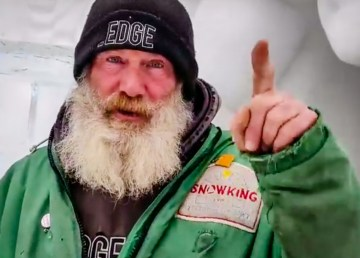 Snowking Anthony Foliot appears in a video declaring the imminent closure of the 2019 festival
