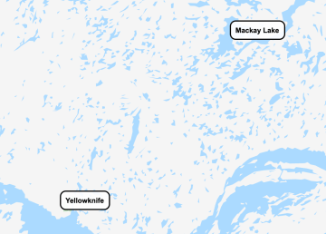 A map shows the location of Mackay Lake relative to Yellowknife