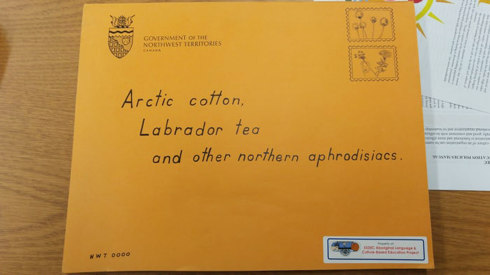 A photo of a collection of writing, art, and photos by NWT residents found in Fort Smith. Sarah Pruys/Cabin Radio
