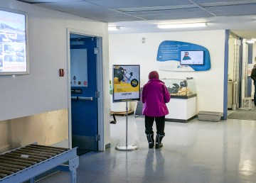 Passengers await a flight in Fort Simpson in December 2018