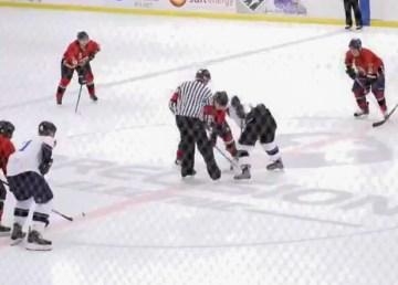 The 2019 RCMP vs firefighters Memorial Hockey Challenge game begins