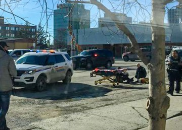 The aftermath of an altercation on Yellowknife's 50 Street on April 9, 2019