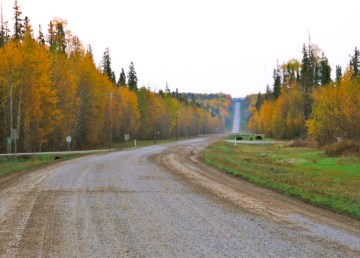 A file photo of the road leading into the community of Fort Liard