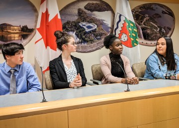Four youth MLAs take questions from journalists after a session at the legislature