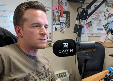 Luke Quinlan in the Cabin Radio studio during a taping of Northeast in May 2019