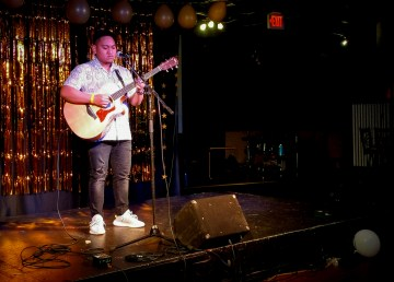 Northwyne Remigio plays at the Main Stage Showdown talent contest in Yellowknife on May 4, 2019