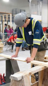 A young trades person competes in the Skills Canada NWT territorial competition in Yellowknife in May 2019. Sarah Pruys/Cabin Radio