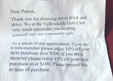 A photo uploaded to Facebook shows a letter left on a vehicle by Yellowknife Golf Club staff