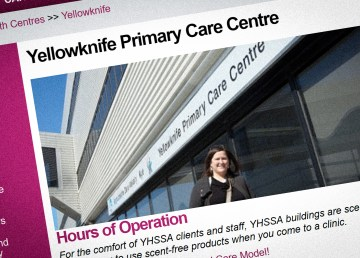 A screengrab shows the online opening hours page for the Yellowknife Primary Care Clinic