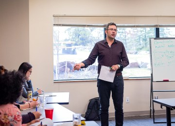 Richard Van Camp addresses a workshop audience at the 2019 Northwords NWT festival