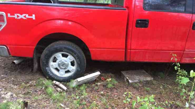 A submitted photo of the truck that drove through the graveyard in Fort Smith. Dave Beamish/Photo
