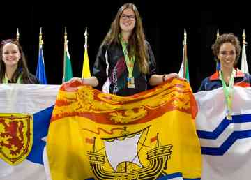 Athletes on the podium at the 2014 Canadian Francophone Games in Gatineau