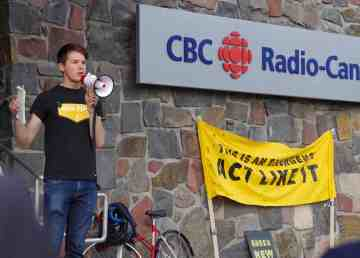 Thomas Gagnon-van Leeuwen spoke to a crowd of 30 outside the CBC's Yellowknife studios on July 17, 2019
