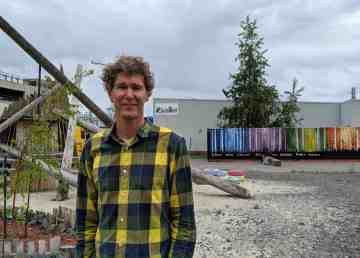 Ecology North's Craig Scott stands in Yellowknife's pop-up park in July 2019. Sarah Pruys/Cabin Radio