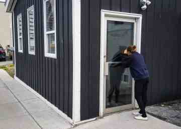 A Cabin Radio reporter steals a glimpse of Barren Ground Coffee's new building on 51st Avenue. Ollie Williams/Cabin Radio