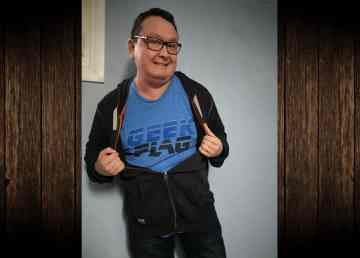 A submitted photo of Adam Aylward wearing a Geek Flag t-shirt.