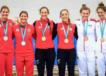 Jessie Loutit, far left, stands on the podium with her silver medal at the 2019 Pan-American GamesJessie Loutit, far left, stands on the podium with her silver medal at the 2019 Pan-American Games