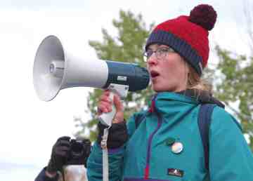 Ella Kokelj at a September 27, 2019 climate strike and march through Yellowknife's streets
