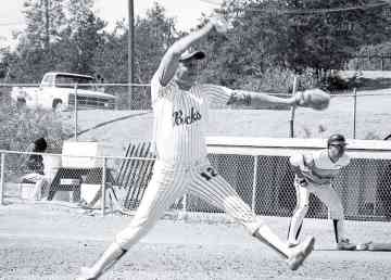 Floyd Daniels pitches in Yellowknife in a photo provided by Sport North