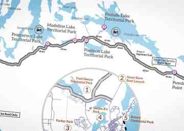A detail from an NWT government map showing safe aurora-viewing locations on the Ingraham Trail