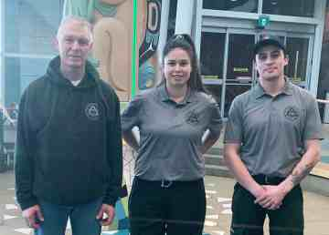 Firefighting personnel Marlon Labach, left, Raelene Lamalice, and Spencer Porter have been deployed to Australia to help combat the wildfires. Submitted photo