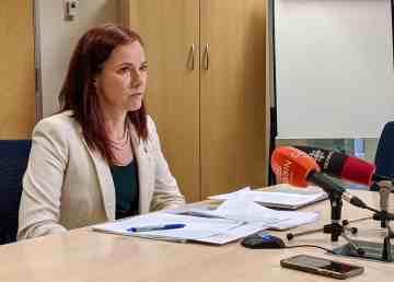 Caroline Wawzonek, the finance minister, talks to reporters on February 25, 2020