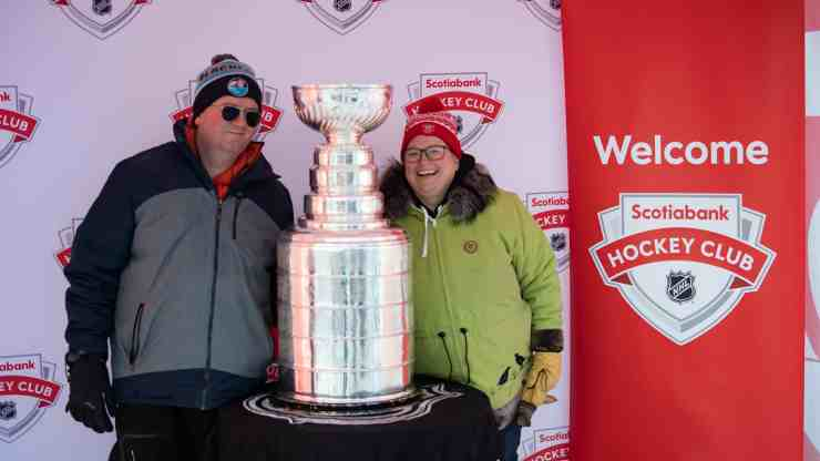 Jeremy Walsh and ??? pose with the Stanley Cup at Hockey Day in Canada. Sarah Pruys/Cabin Radio
