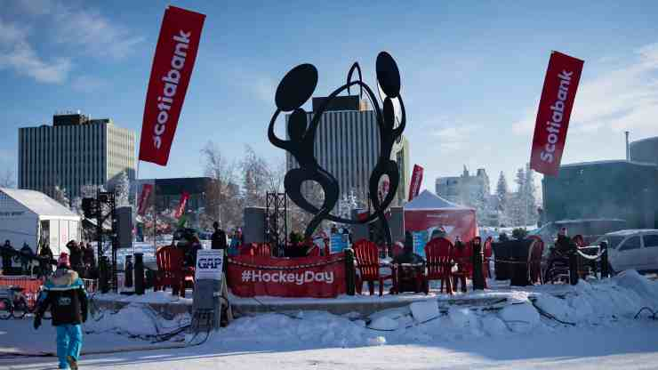 Somba K'e Park in Yellowknife is decked out for Hockey Day in Canada. Sarah Pruys/Cabin Radio