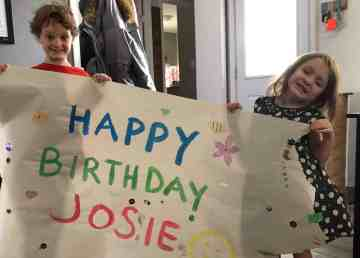Denika Brennen sent in this photo of a painted greeting for Josephine Copple's seventh birthday parade