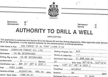 A page from an application form to begin drilling a gas well near Fort Liard in 1999. The wells are now awaiting cleanup work