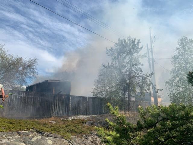 Smoke from the fire blew across Franklin Avenue
