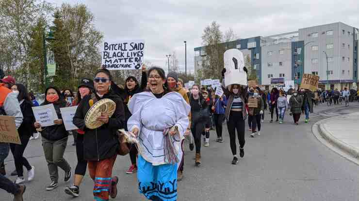 Protesters in a Black Lives Matter march through Yellowknife on June 9, 2020