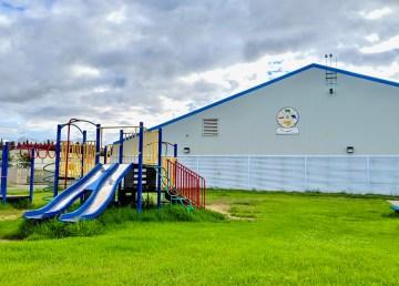 A playground outside Líídlįį Kúę Elementary School in Fort Simpson