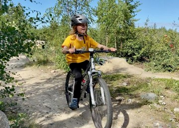 A participant at the 2020 Mountain Bike Madness camp in Yellowknife