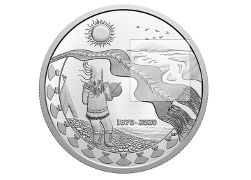 A coin designed by Myrna Pokiak to mark 150 years of the NWT