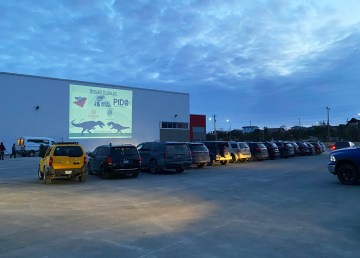A photo of a drive-in movie night in Yellowknife in May 2020