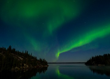 The northern lights over Duncan Lake in the Northwest Territories in September 2020