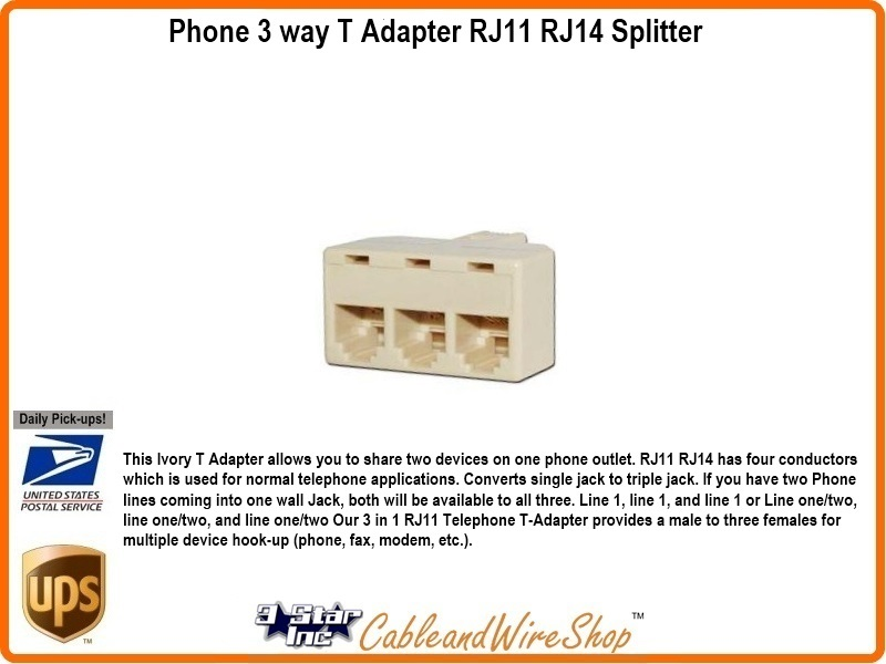 3-Way Telephone Line T Adaptor RJ11 RJ14 Splitter 20853