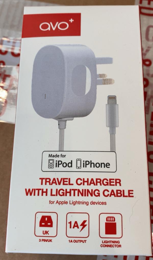 AVO+ iPhone iPad Mains Charger MFI Lightning Plug & Cable White