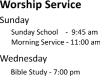 Directions for Worship Service