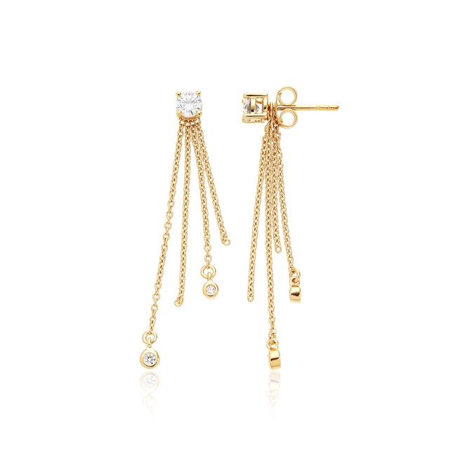 Stunning Cabochon Stud Drop Earring with 2 x 4mm , 2 x 1.50mm, 2 x 2mm Round Brilliant Diamond Simulant Sterling Silver Rhodium Plated in Yellow Gold. Total Carat Weight 0.580