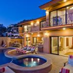 Casa Mega point is one of los cabos most sought after luxury vacation villas for bachelor parties pool at dusk