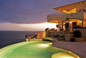 villa la roca pedregal cabo san lucas luxury villa rentals in los cabos evening by the pool