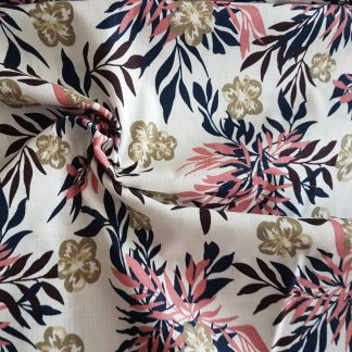 Floral 100% Cotton Genoa Linen look fabric