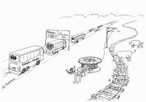 Bus statt Bahn im Allgäu – einer der vier Enotrac Cartoons 2014 (Copyright Bild: Enotrac)