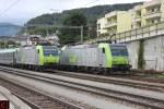 BLS Re 485 007 mit der RoLa, Re 485 014 und Re 485 001 als Lokzug in Spiez