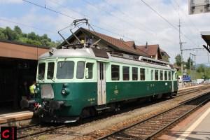 Der BN Be 4/4 Wellensittich stand bei den Sternfahrten zu 150 Jahre Eisenbahn Konolfingen im Einsatz class=