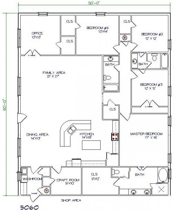 Barndominium Floor Plans 50'X60′ 3000 Sq. Ft. 5 Bed, 3 Bath