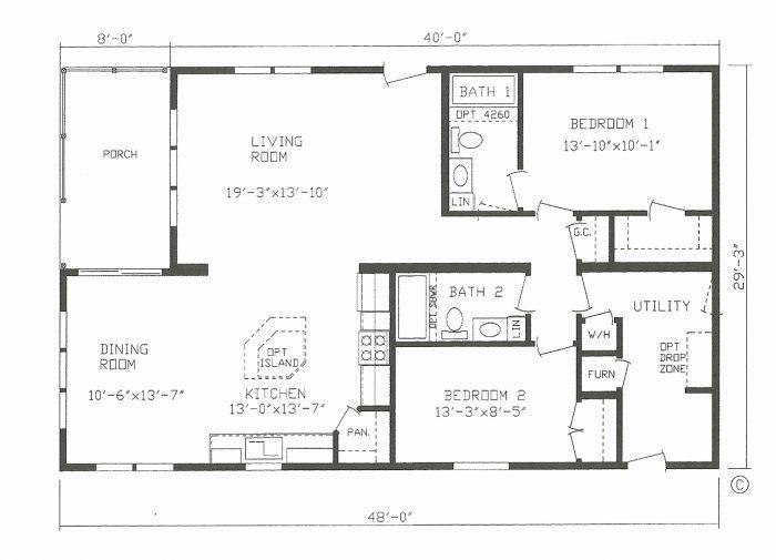 Barndominium Floor Palns 2 Bed 2 Bath 30x40 1